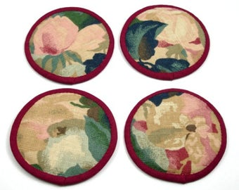 Cloth Coasters, Fabric Coasters, Floral Coasters, Abstract Flower Coasters, Round Flower Coasters, Dusty Pink Flowers, (set of four)