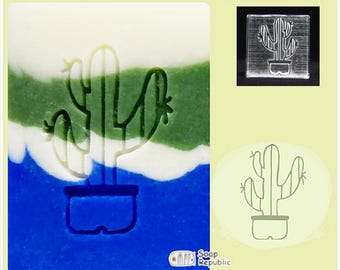 Soap Republic Cactus Flower 1 / Acrylic Soap Stamp / Cookie Stamp / Clay Stamp