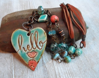 Heart Bird Flower Hello Pottery Necklace