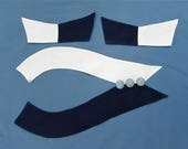 Deco Geometric Collar and Cuffs - Navy Blue & White pique - 1930s