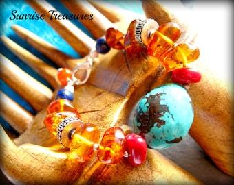 Healing Baltic Amber Bracelet, Natural Genuine Turquoise Bracelet, Red Coral, Lapis, Semi Precious Gemstone Bracelet, Southwest Jewelry
