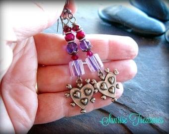Lampwork Glass Earrings, Funky Artisan Heart Earrings, Red Garnet and Amethyst Earrings, Unique Handmade Gemstone Jewelry