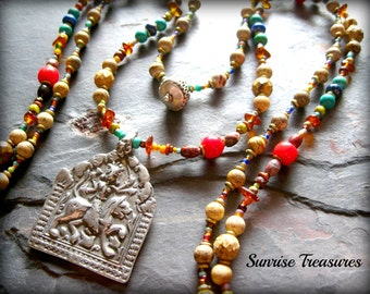 Long Double Strand Tribal Necklace, Hindu Durga Goddess Pendant, Talisman Necklace, Red Coral/Amber/Lapis/Jasper/Turquoise Necklace