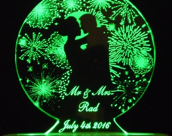 FIREWORKS - Fourth of July - Moonlight Romance  Wedding Cake Topper  - Acrylic -Personalized - - Light EXTRA