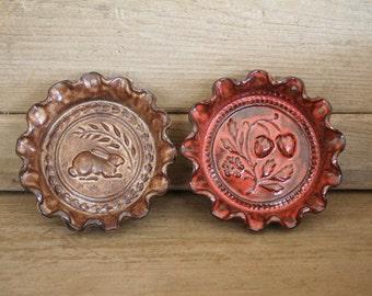 Rustic Folk Art Dish Duo - Rabbits & Berries