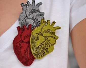 Felt brooch heart shape heart, anatomical heart
