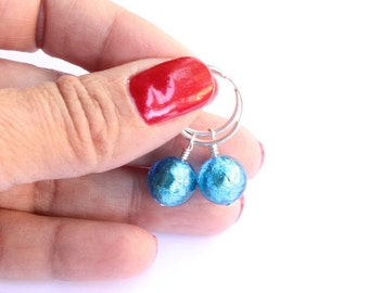 Aqua Venetian Hoop Earrings, Authentic Murano Glass, Sterling Silver, Ready to Ship