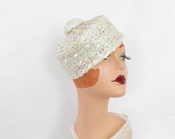 Vintage sequin hat, 1960s tilt, white pillbox Michele