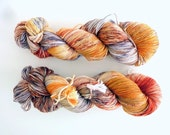 "Hand dyed sock yarn - Speckled 4 ply fingering, Sock&Roll base - Colourway ""Little fox"""