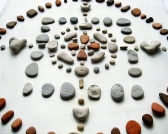 Mandala Pebble Art, madala wall art, natural rocks mandala, beach pebbles wall art, tribal art, medbeachstones, unique housewarming gift