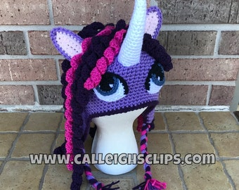 Unicorn Earflap Hat - Purple