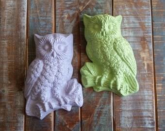 Pair of Pastel Green Purple Owl Wall Hangings