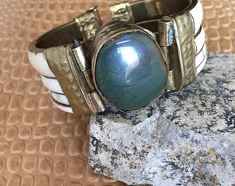 Vintage green stone cuff bracelet
