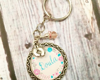 Doula Midwife Birth Baby Photo Keychain Jewelry Charm, Doula Gift
