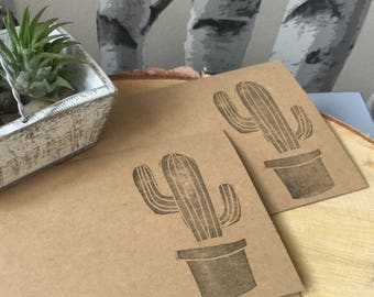 Handstamped Cactus Cards, Blank Card Set made with Hand Carved Stamp, Set of Four Cacti Cards, Kraft cards with Black Ink