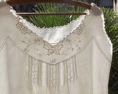 Vintage French Camisole Dress  Linen slip Handmade lace broderie butterflies