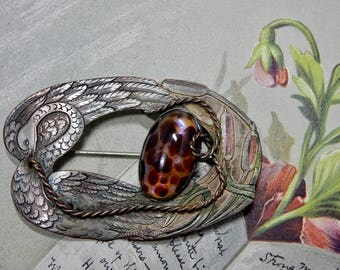 Victorian Tinted Brass SWAN & Cattail Brooch Sash Scarf Pin  Nature Inspired w/ Tortoise Cabochon   OAE27
