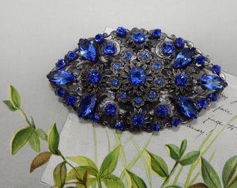 Ornate Victorian Silver Filigree Brooch w/ Blue Rhinestones    OAE52