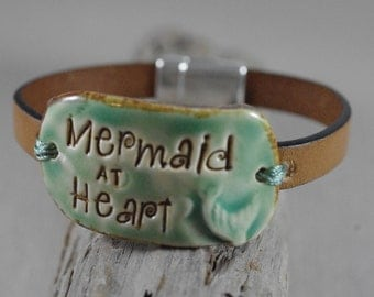 Mermaid at Heart Ceramic and Leather Bracelet - Leather Jewelry - Beach Bracelet