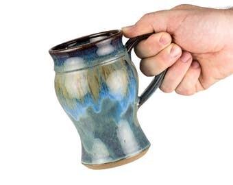 Wheel thrown pottery mug in Storm glaze / coffee mug | tea mug | wheel thrown |  handmade mug | stoneware pottery mug |