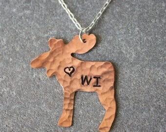 Love Wisconsin Copper Moose Necklace