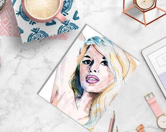 PRINTABLE FASHION PRINT Bridget Bardot Print, Bridget Bardot Art, Bardot Artwork, Glamorous watercolor, brigitte bardot art illustration
