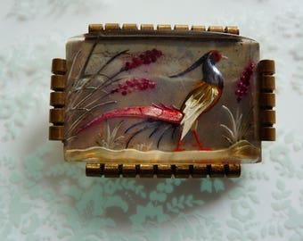 Art Deco Reverse Carved Brooch with Pheasant Bird French Jewelry