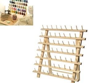 "Large Folding Natural Wood Embroidery Thread Display Rack - Holds 63 spools - 38.5cm (15 1/8"")"