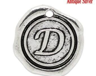 """4pcs. Antique Silver LARGE Letter """"D"""" Alphabet Letter - 18mm x18mm - Wax Design"""