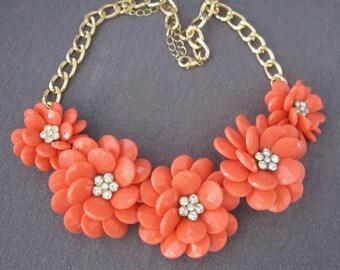 flower jewelry, flower necklace, coral jewelry, peach necklace, floral necklace, summer jewelry, spring jewelry, necklace for women, orange