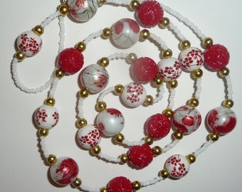 Long Red and White Necklace - Red and White Beaded Necklace - Red Floral Necklace