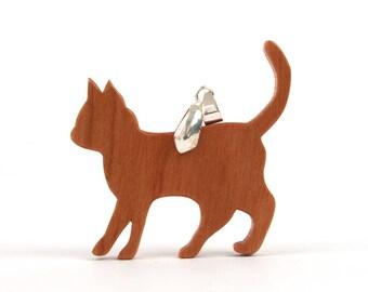 Wood Cat Necklace, Wooden Pet Pendant, Cat Jewelry, Wooden Cat Pendant Necklace, Hand Cut Cherry