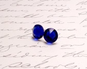 Cobalt Blue Swarovski Crystal Post Stud Earrings. Simple Sparkling Earrings.