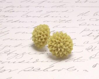 Light Mustard Yellow Resin Flower Chrysanthemum Earrings. Simple Floral Post Stud Earrings.