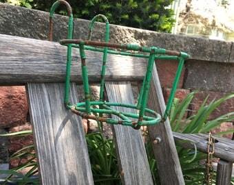 Plant Hanger Sconce Wrought Iron Chippy Green Vintage Retro Primitive