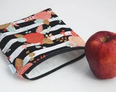 Teacher Gifts for Her - Reusable Bags - BPA Free Bags - Floral Zipper Pouch - Striped Zipper Pouch - Available in Three Sizes