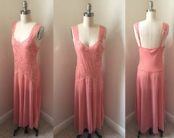 Sheer Salmon Pink Chiffon and Stretch Lace Nightgown //1990s Sz Small