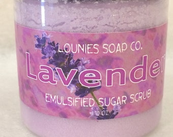 Lavender | Sugar Scrub | 9oz | Body Polish | Scrub | Mango Butter | Jojoba Oil | Argan oil | Gift | Sugar | Exfoliate | Moisturize | Shea