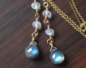 Rainbow Moonstone and Labradorite Earrings, Long Gold Threaders, Elegant Gemstone Jewelry, AAA Stones, Gold Filled, Free Shipping