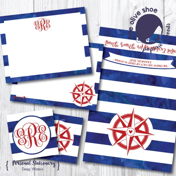 Deep Waters Stationery | 20% Benefits Price's Point | Thank You Note | Note Card | Enclosure Card | Monogram | Compass | Nautical