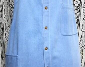 Denim Pinafore Apron from repurposed Man's Shirt