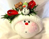 Snowman Christmas Ornaments Let It Snow Sign Hand Painted Handmade Personalized Themed by Townsend Custom Gifts
