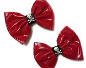 Red Vinyl Pleather Fishnet Bows With Skull And Crossed Bones Glam Punk 80s