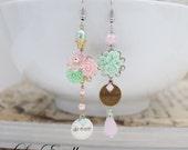 RESERVED For Janice* Pink Asymmetrical earrings Mint Floral earrings Mismatched earrings Inspirational Earrings - Dream & Believe
