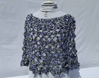 Amazing hand crocheted 70's retro poncho, beach coverup, summer bridesmaid poncho, country wedding accessories