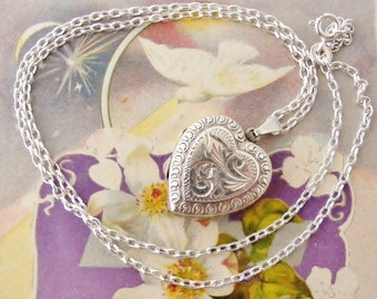 RESERVED on Layaway for SHAN Vintage heart locket sterling hand engraved and embossed on 18 inch sterling chain.