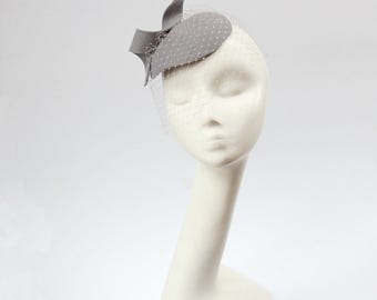 Grey Felt Fascinator with Veil, Bridal fascinator