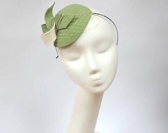 Pastel green  Wool Felt  Fascinator, Mini Hat with the Veil, Wedding fascinator