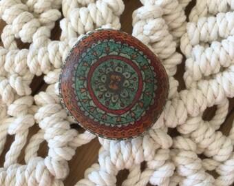 Spirit Stone Mandala Painted Stone Natural Rock Paperweight i
