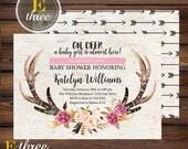 Girl's Tribal Baby Shower Invitation - Rustic Antler Baby Shower Invitation - Floral Deer Antler Shower Invite - Flowers, Wood grain, Arrows